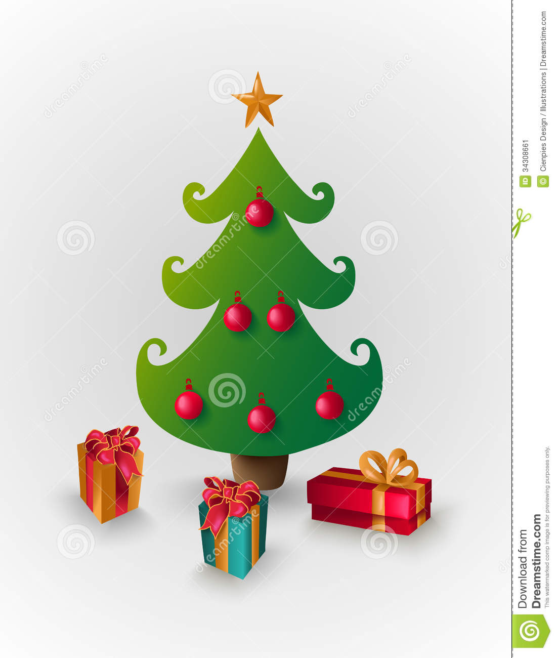 Merry Christmas Tree With Presents Eps10 File Stock