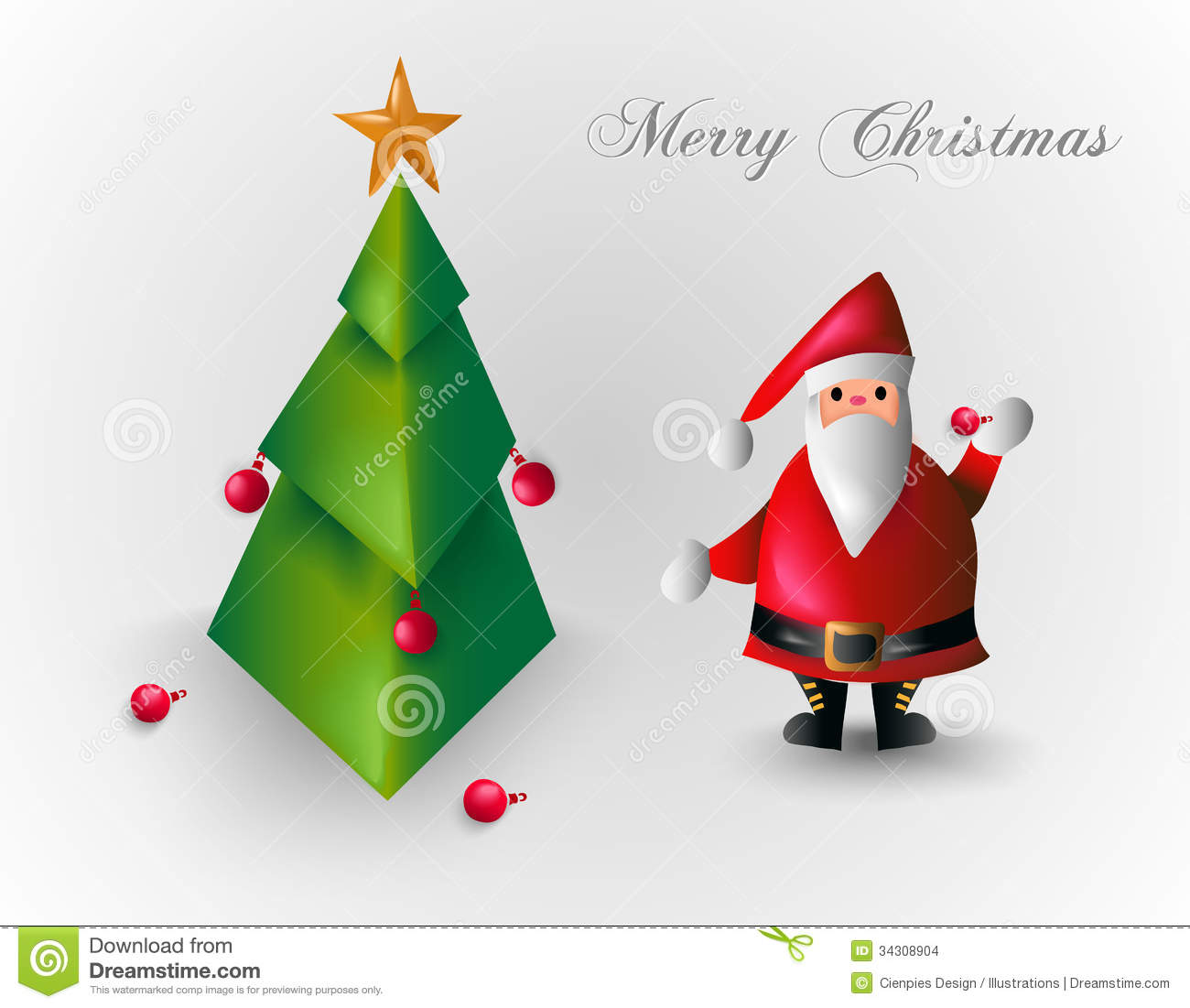 Merry christmas tree and santa claus eps10 file stock images image