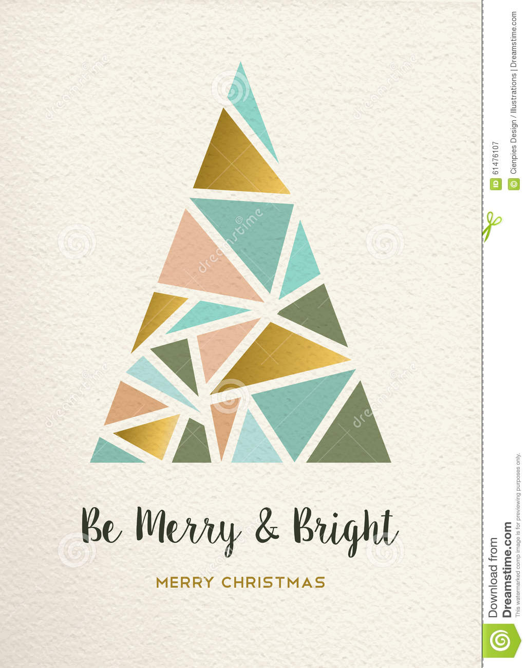 Merry Christmas Tree Triangle Gold Vintage Card Stock