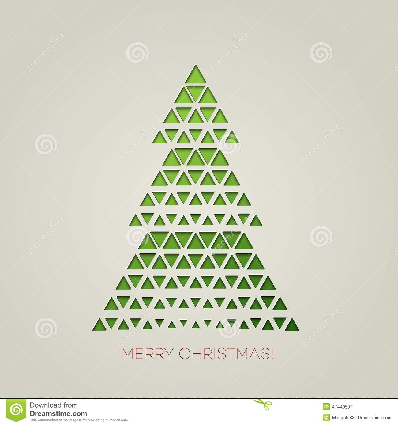 Merry Christmas Tree With Triangle Shape Stock Vector - Image ...
