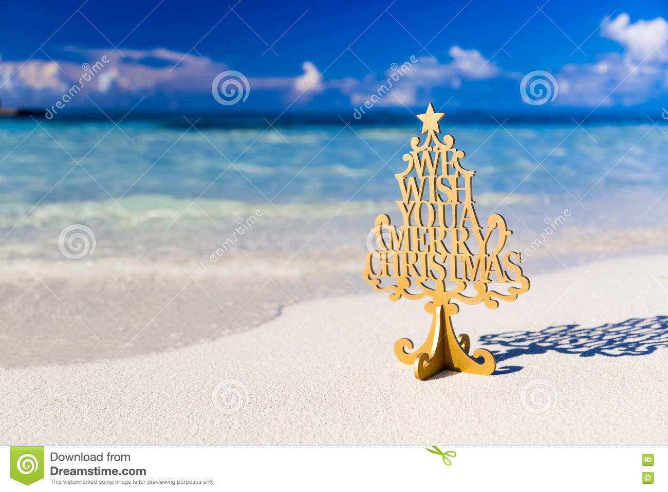 Merry Christmas Tree And Wishing Decoration, In A Beach Stock Image ...