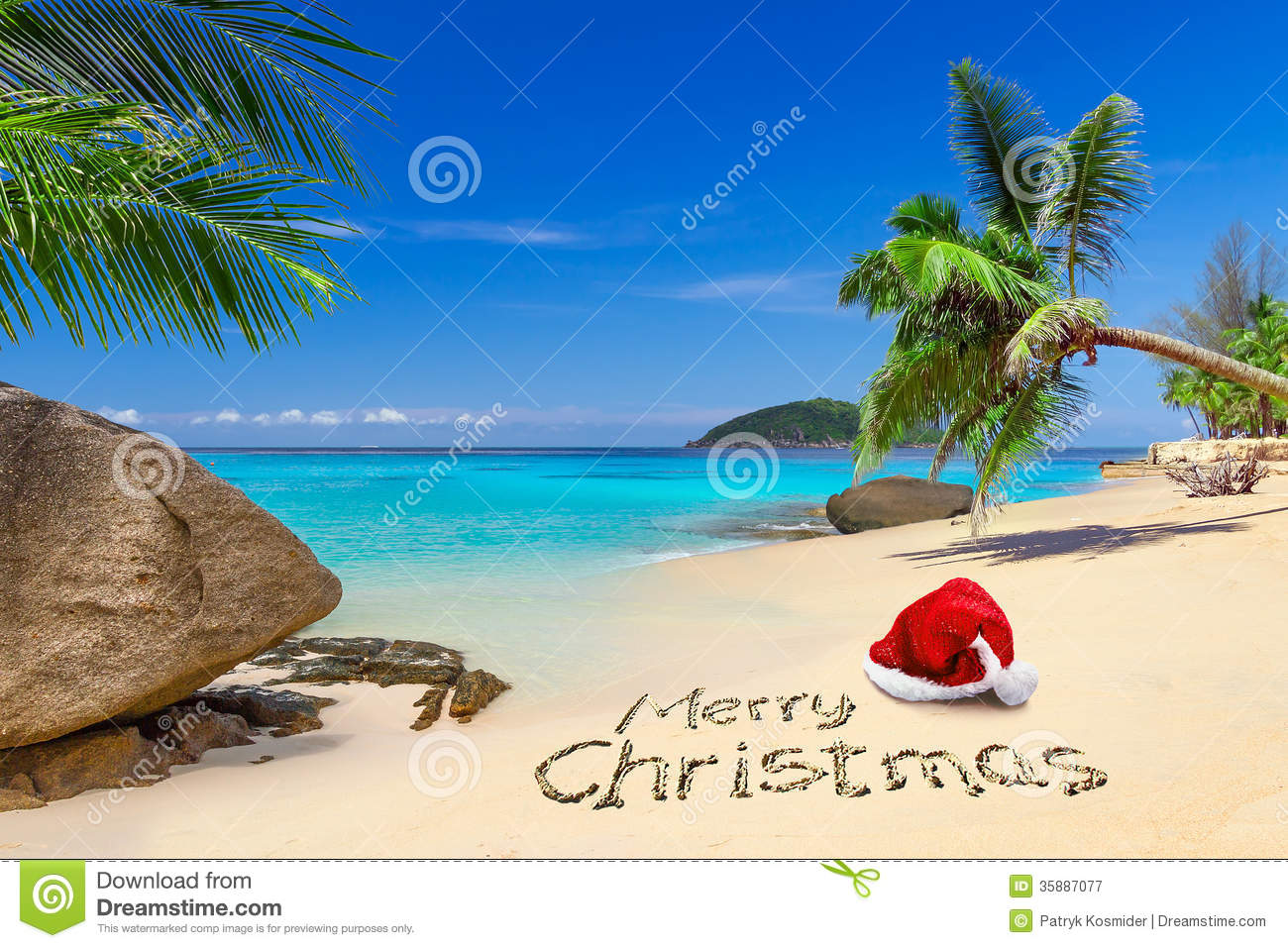 Santa Claus Tropical Beach Christmas Royalty Free Stock