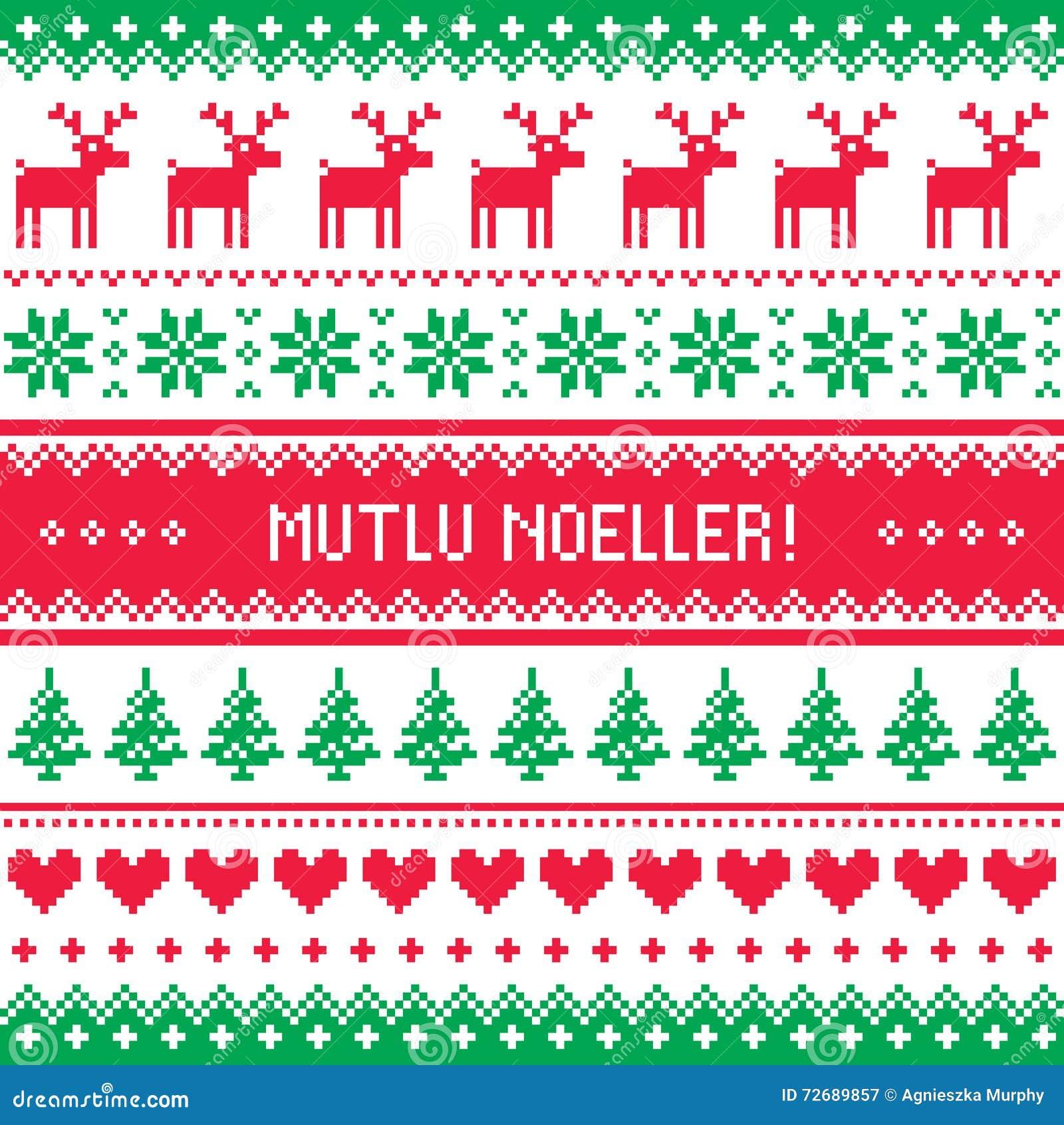 Merry Christmas In Turkish - Mutlu Noeller Pattern Stock ...