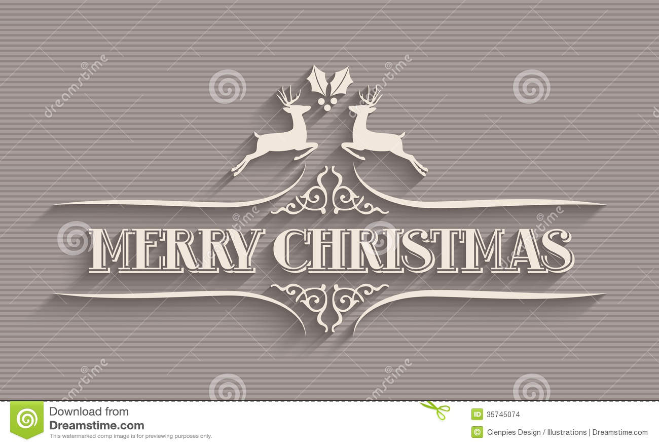 merry christmas typographic postcard stock vector image 35745074
