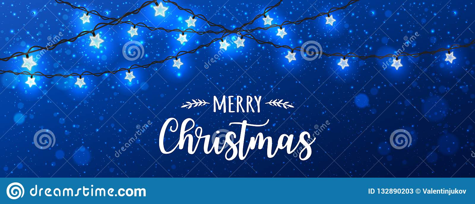 Merry Christmas Typographical on blue background with Xmas decorations glowing white garlands, light, stars