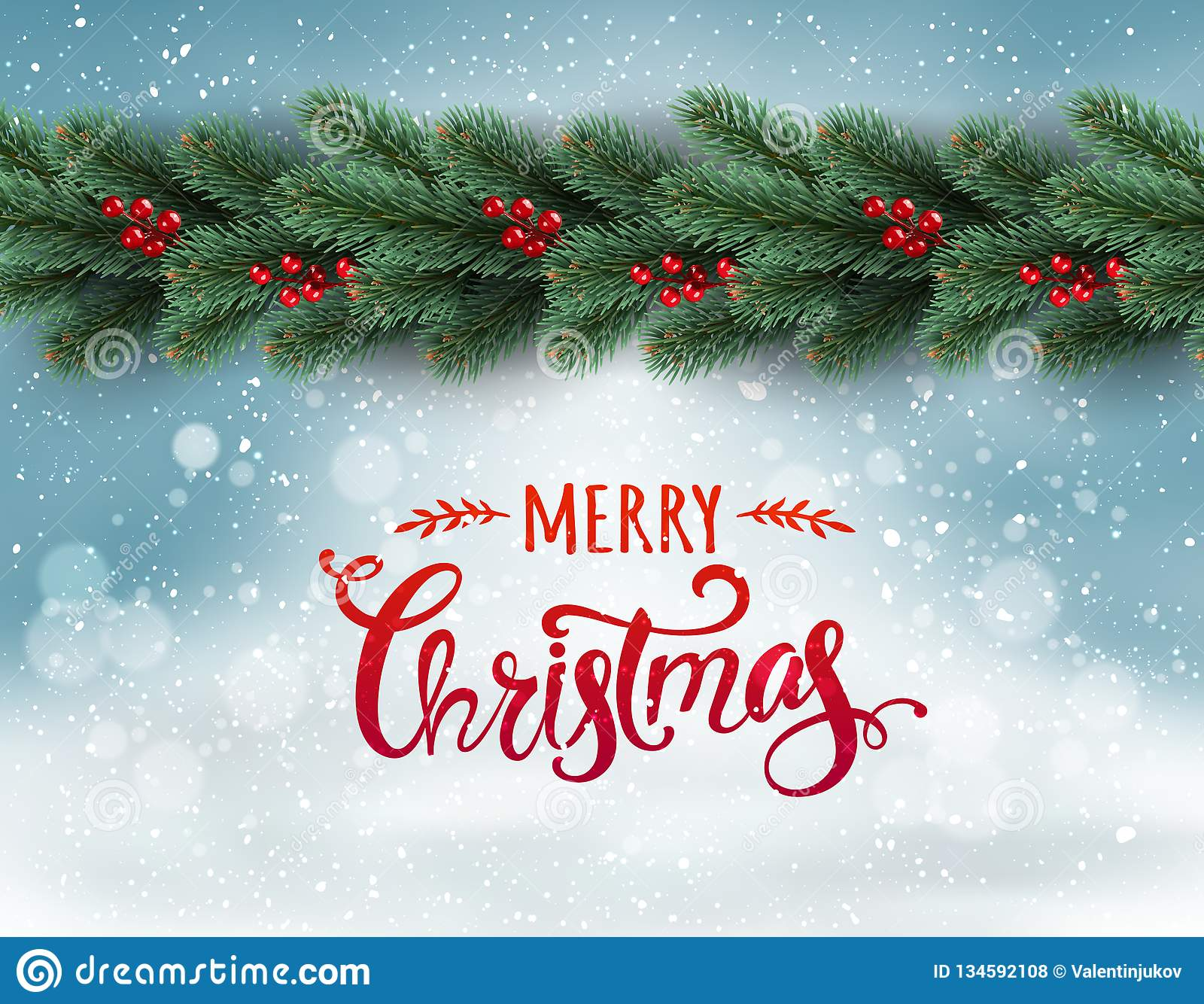 Merry Christmas Typographical on snowy background with garland of tree branches decorated with berries, bokeh, snowflakes.