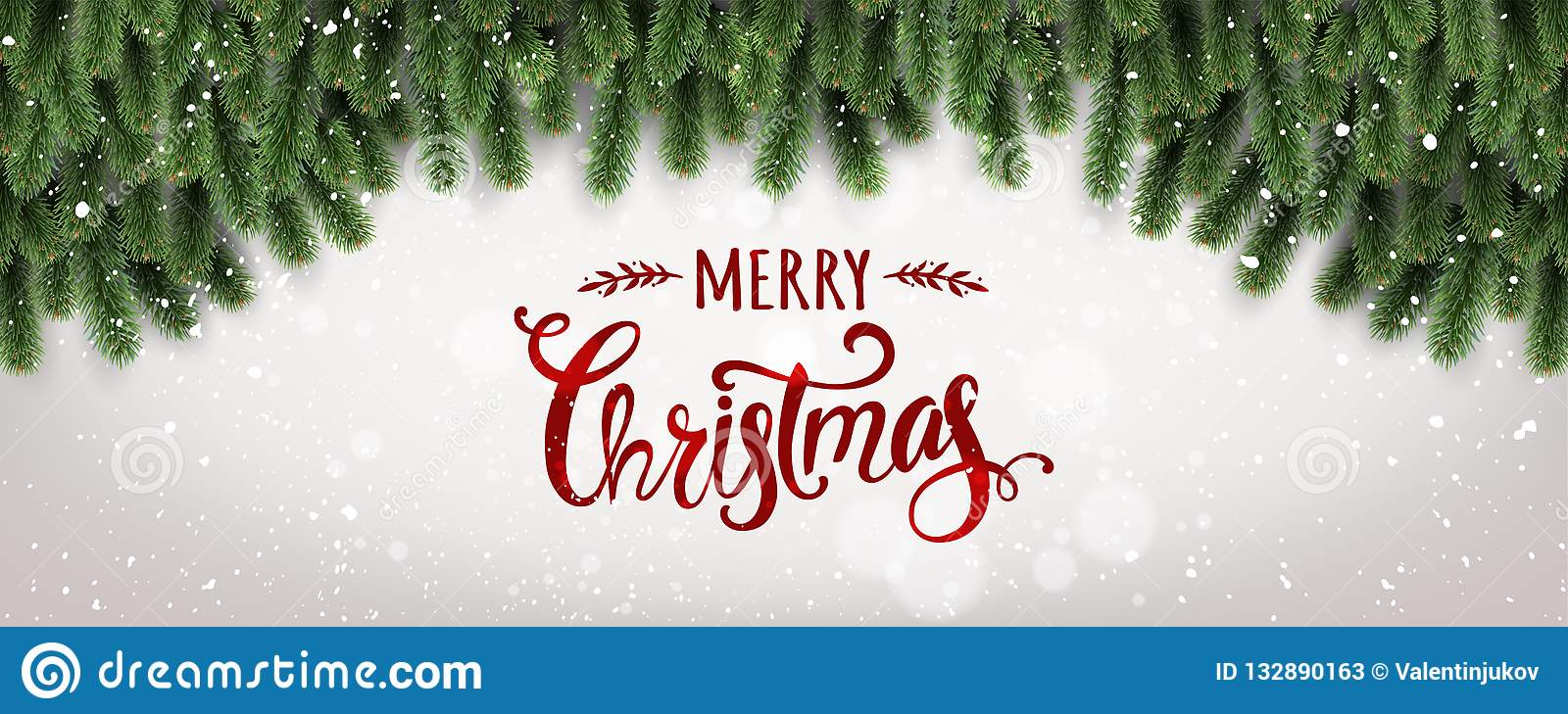 Merry Christmas Typographical on white background with tree branches decorated with stars, lights, snowflakes.