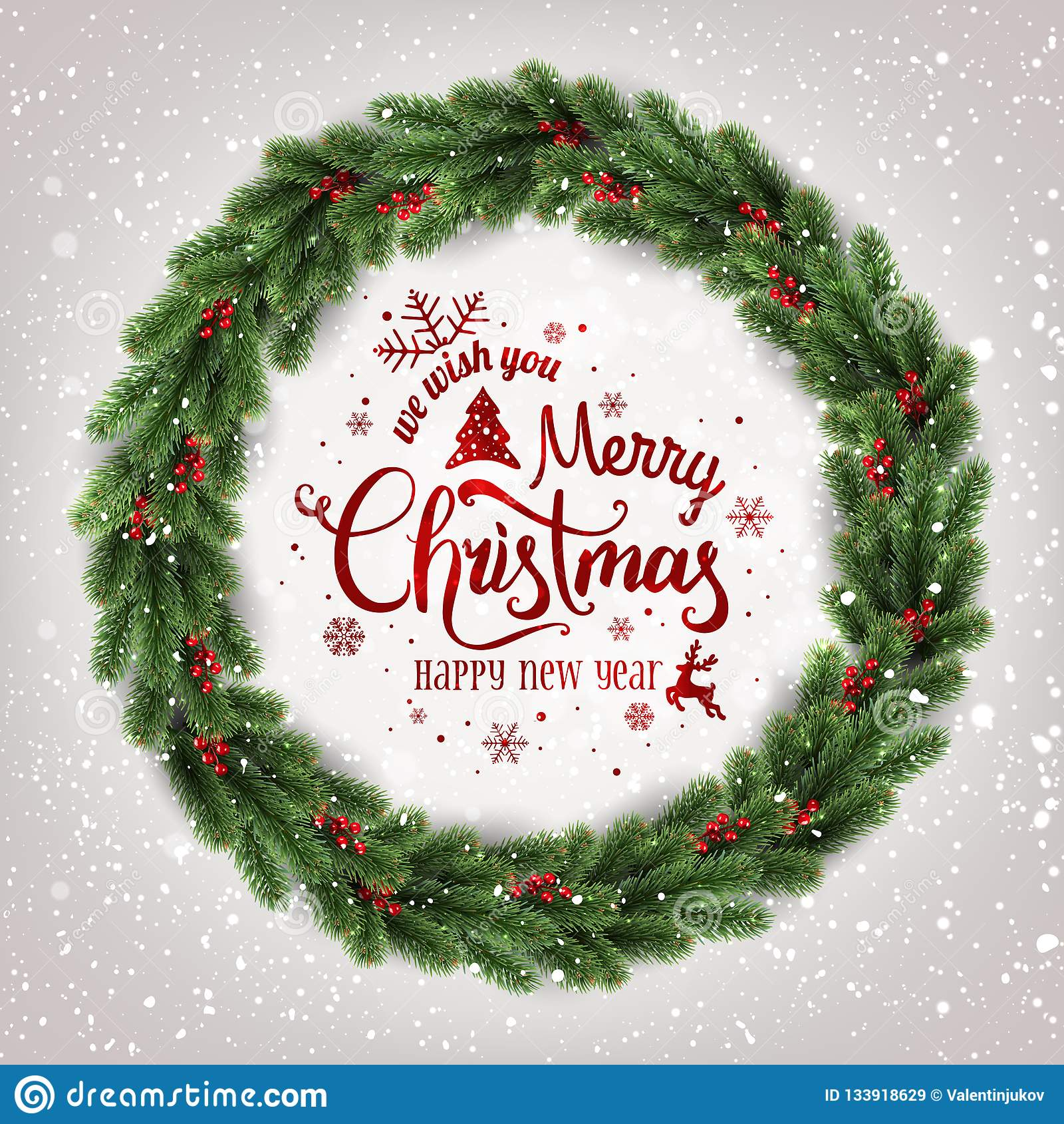 Merry Christmas Typographical on white background with Christmas wreath of tree branches, berries, lights, snowflakes
