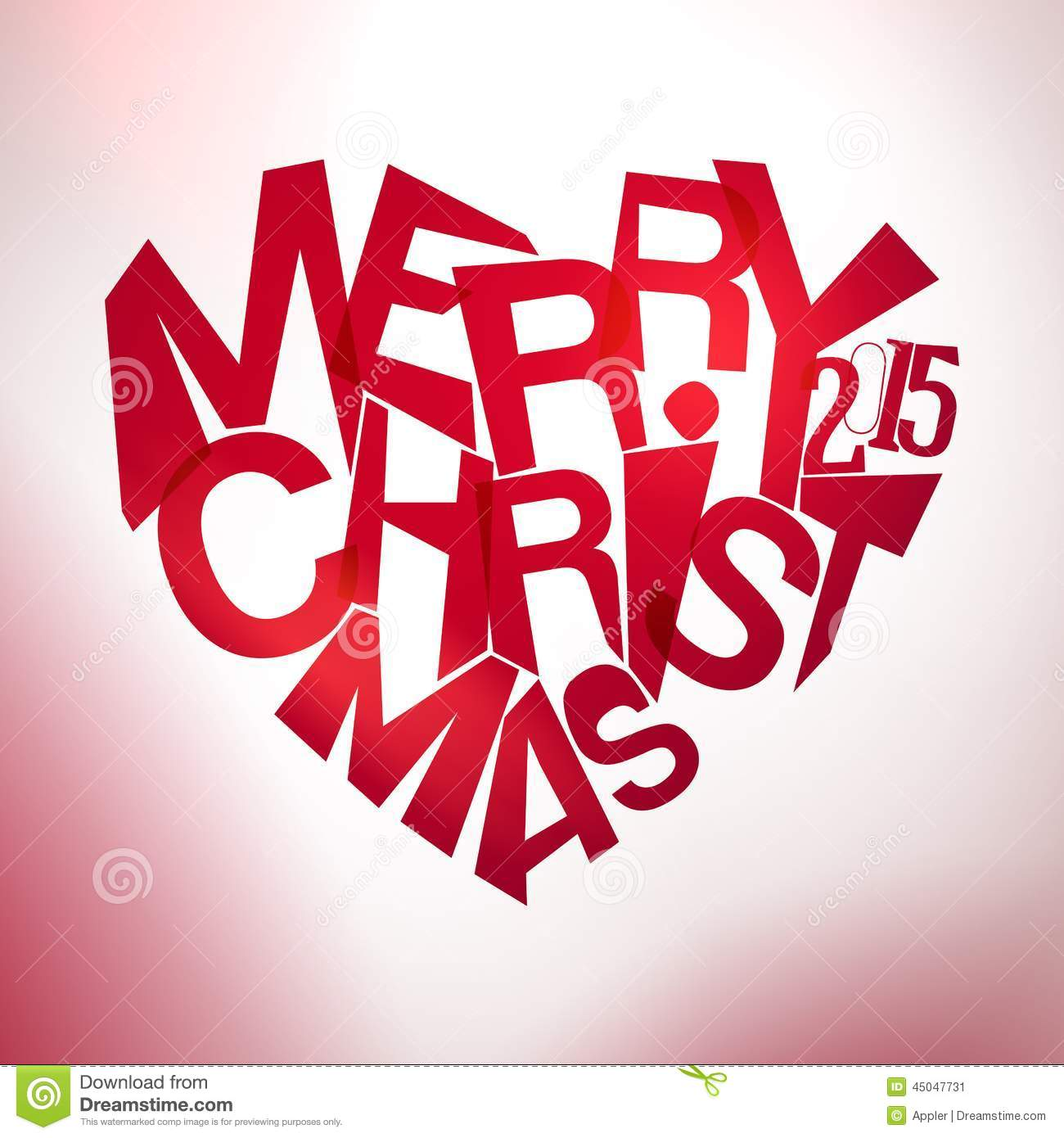 Merry christmas typography at heart shape stock vector
