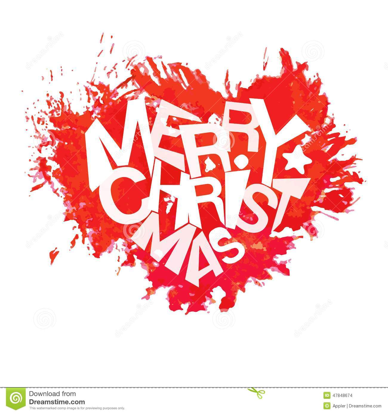 Merry christmas typography at watercolor heart shape stock