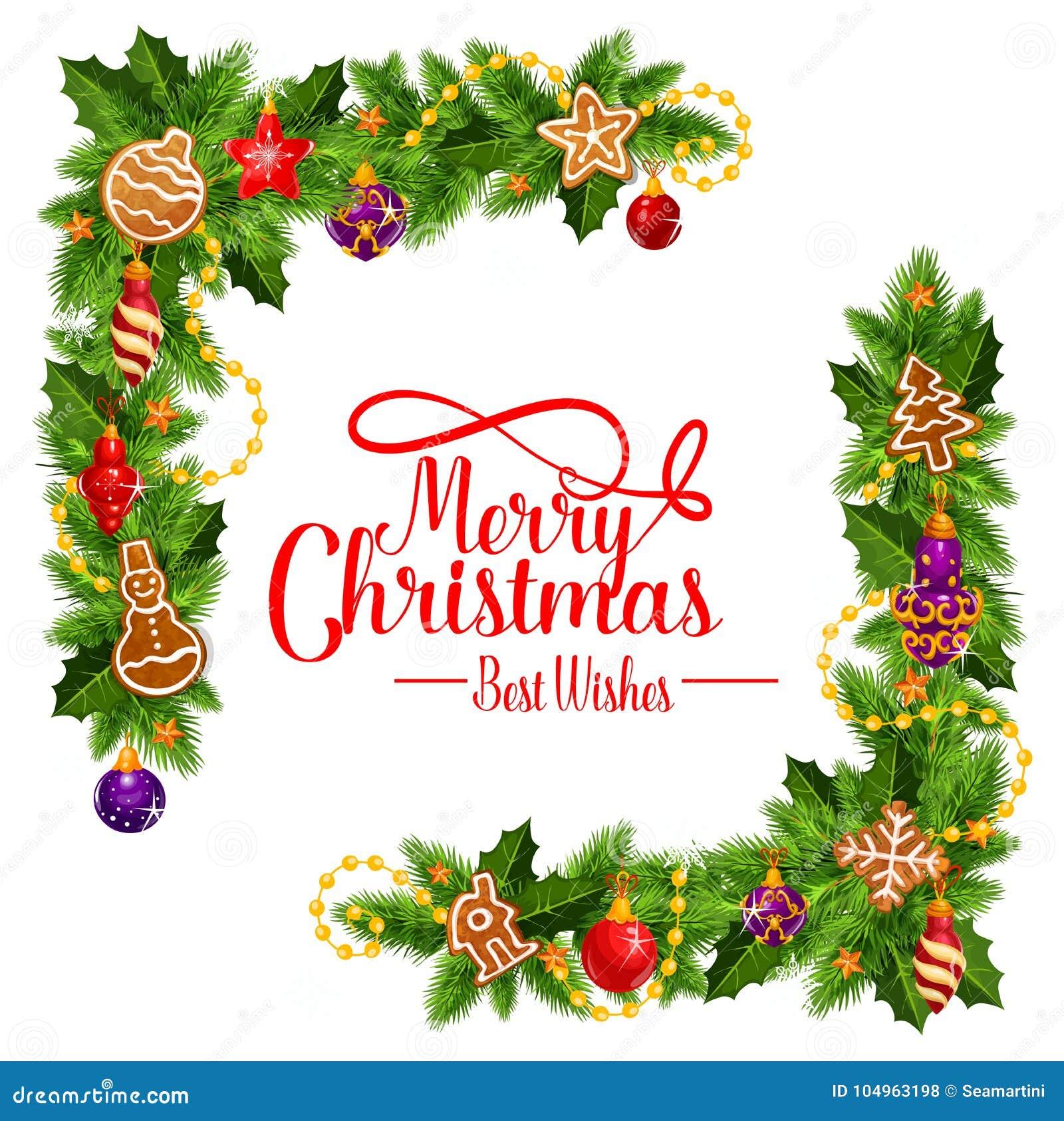 Merry Christmas Vector Frame Wreath Stock Vector - Illustration of ...