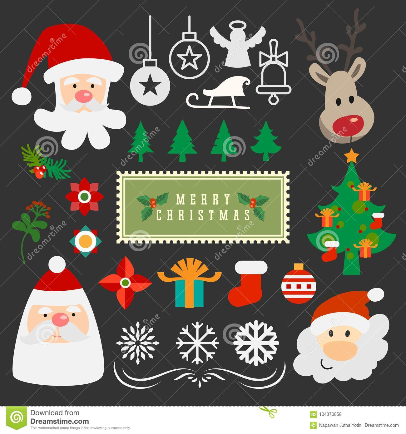 Merry Christmas Vector Object Ornament Collection  Stock