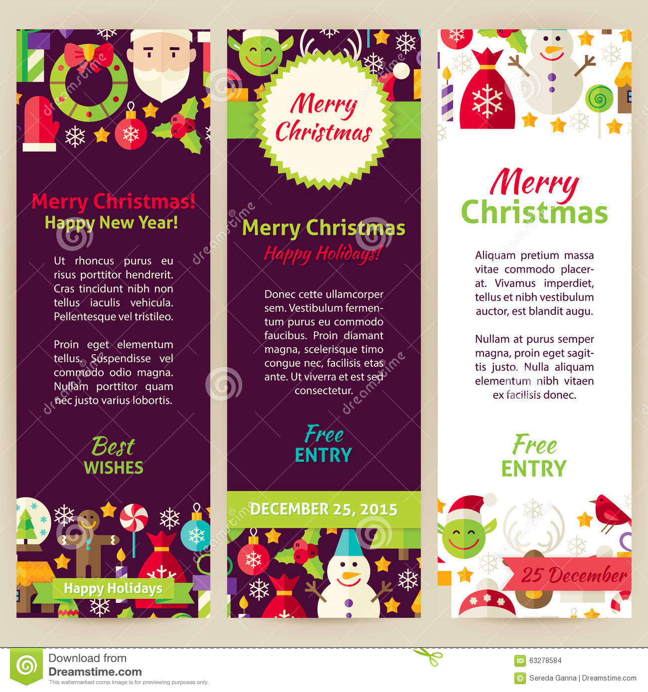 merry christmas vector party invitation template flyer set stock merry christmas vector party invitation template flyer set