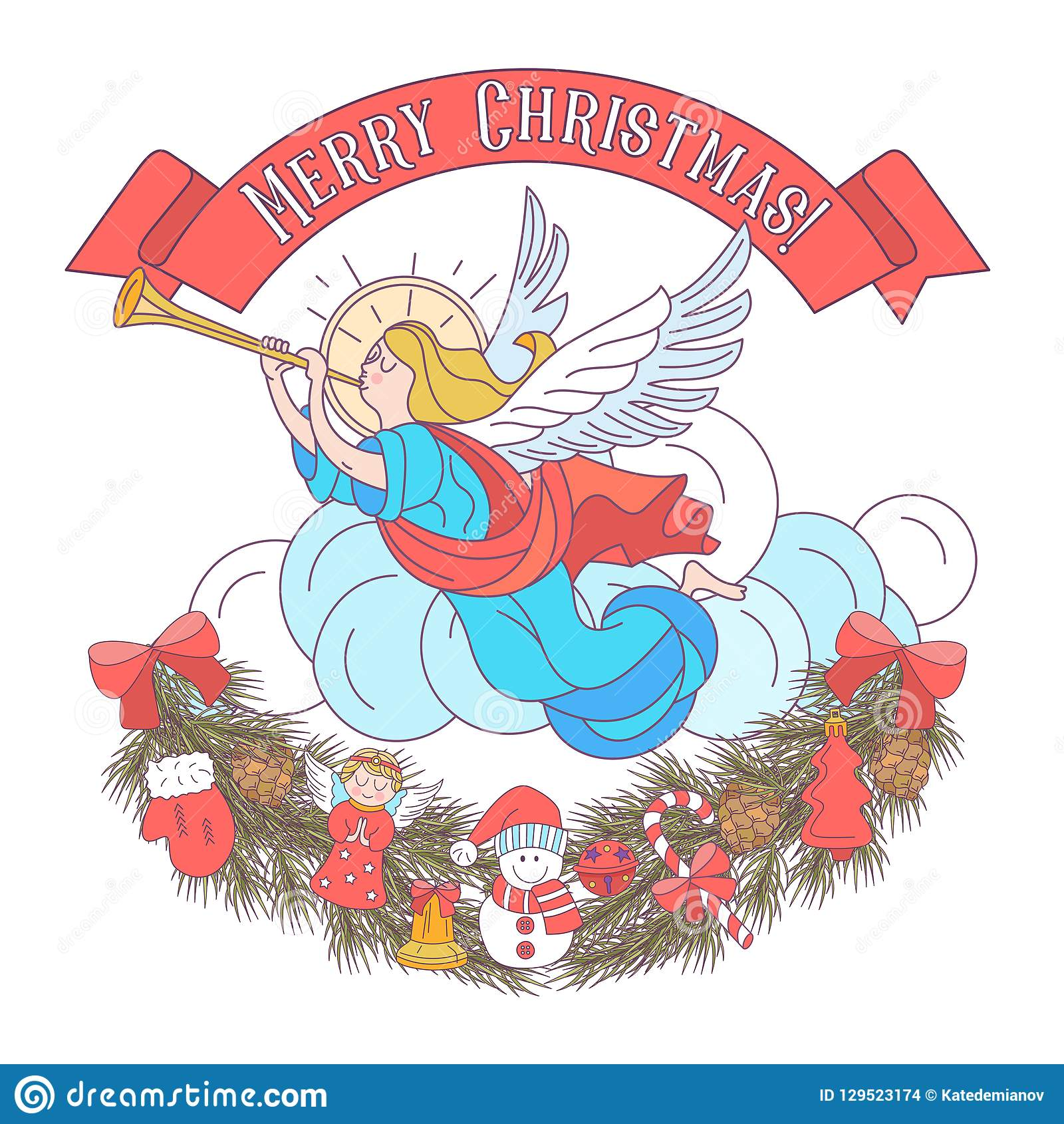 Christmas Angels.Merry Christmas Angels Blowing Trumpets Vector
