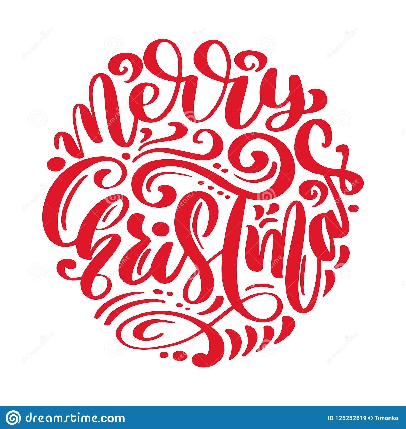 Merry Christmas Vector Text Calligraphic Lettering Design Card ...