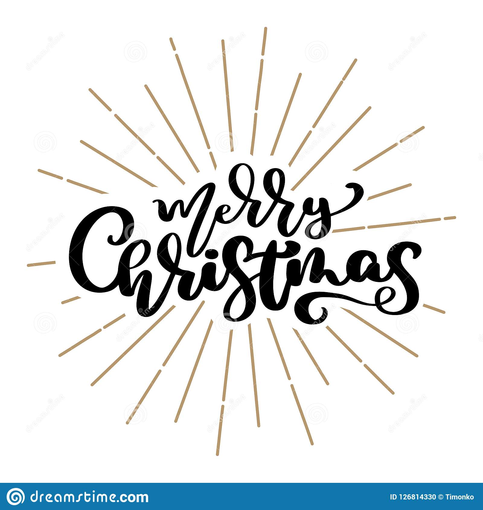 Merry Christmas Vector Text Calligraphic Lettering Design Card