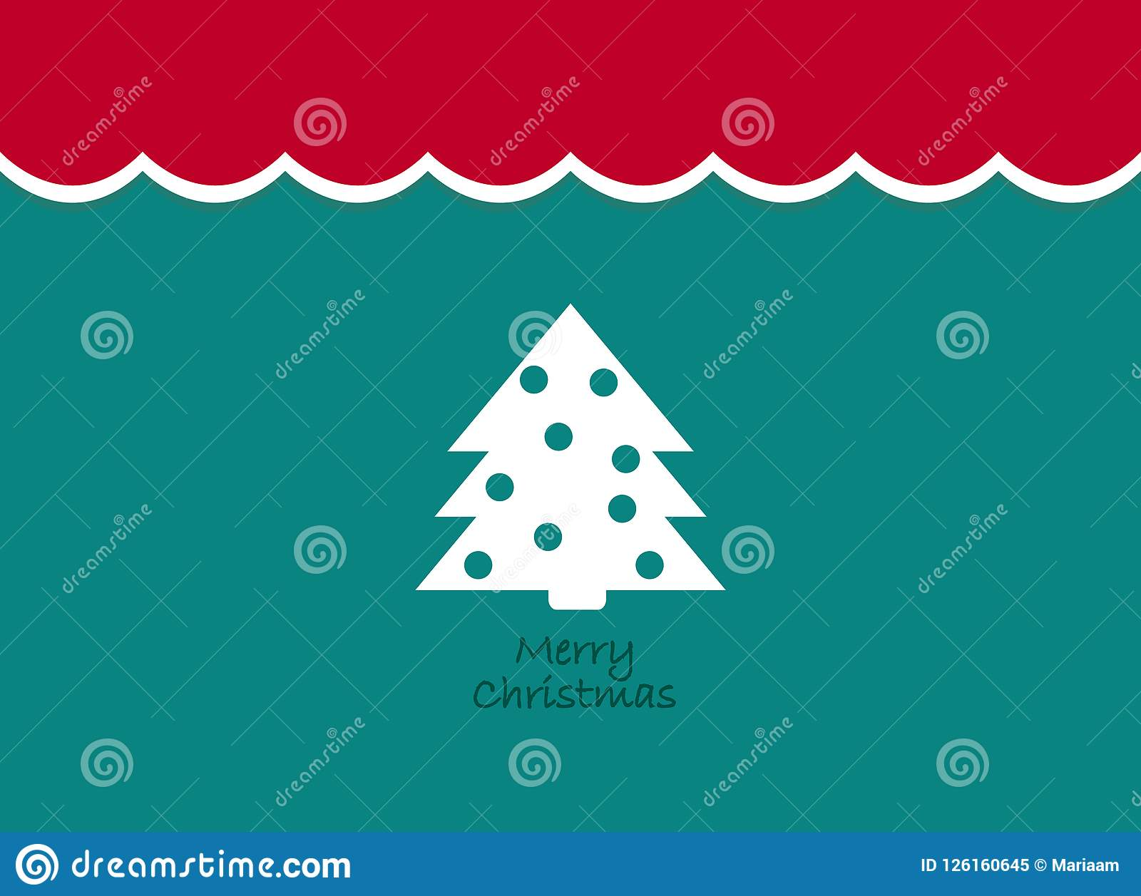 Merry Christmas Vintage background with tree. Retro flat design.