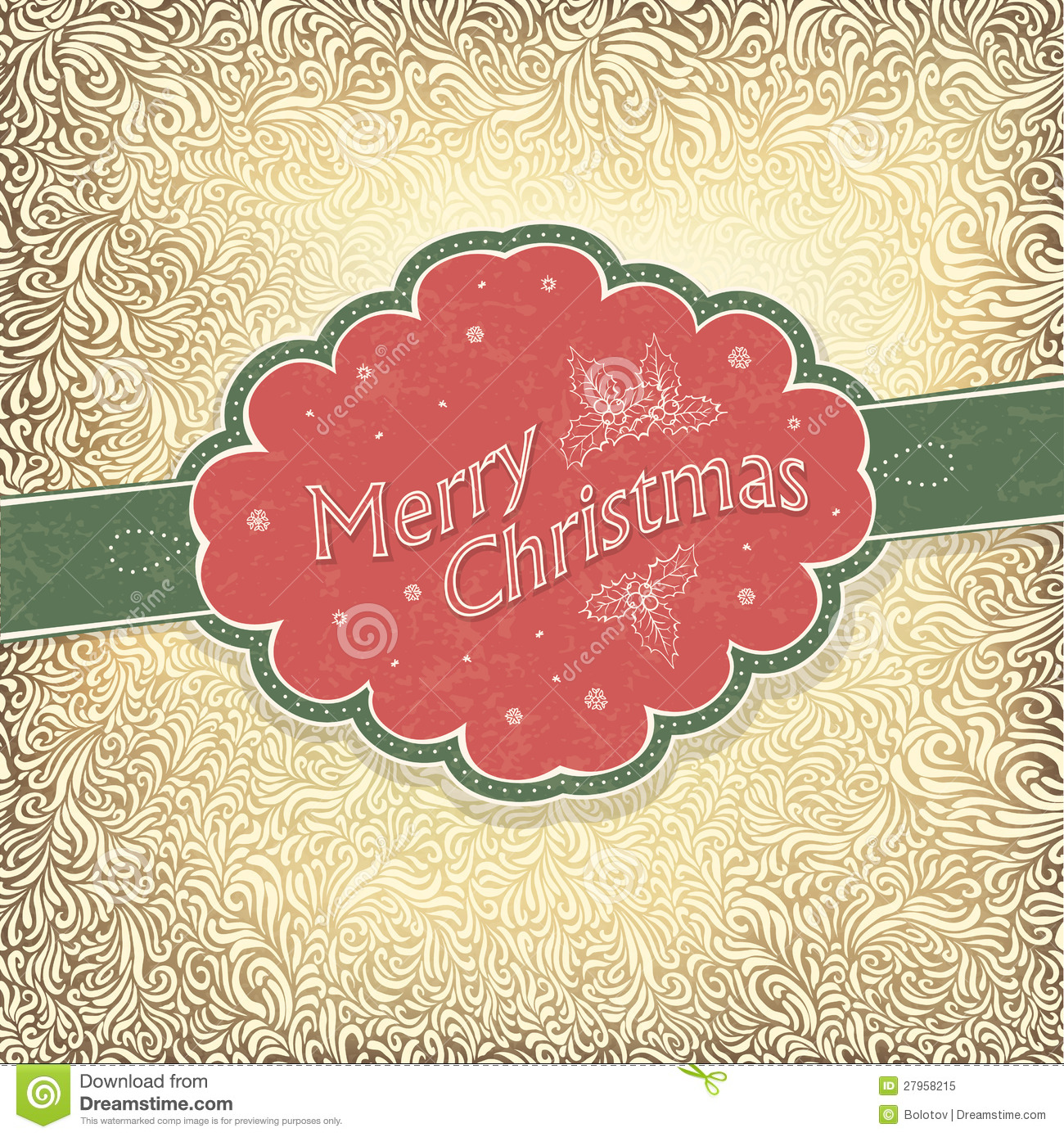 merry christmas vintage card stock vector image 27958215. Black Bedroom Furniture Sets. Home Design Ideas