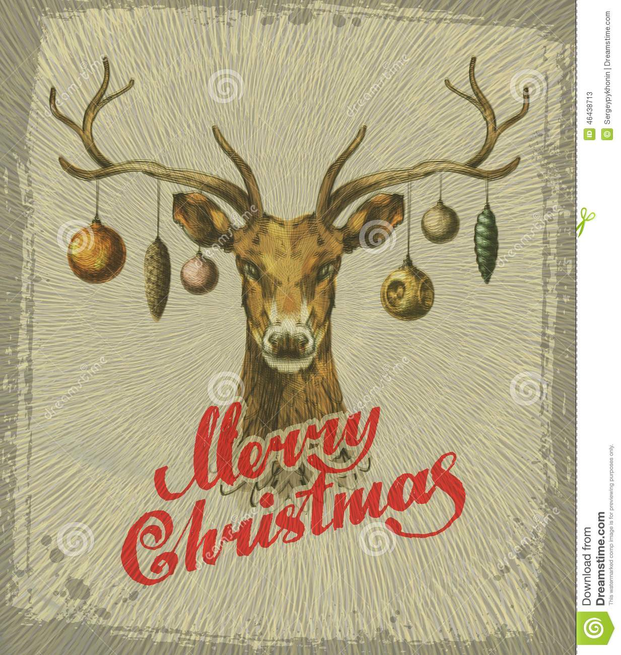 merry christmas vintage christmas card deer