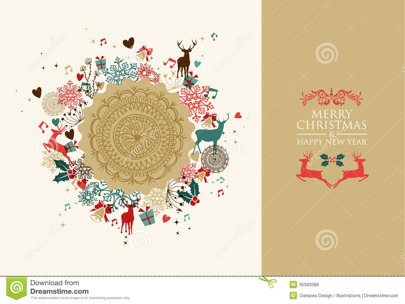 Merry Christmas Vintage Circle Composition Royalty Free Stock ...