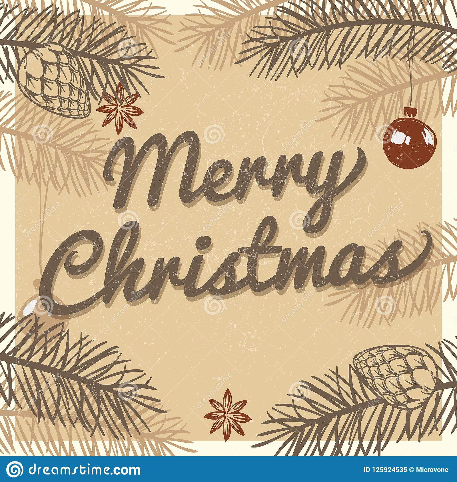 merry christmas vintage greeting card winter holiday vector background merry christmas vintage greeting card winter holiday vector 125924535