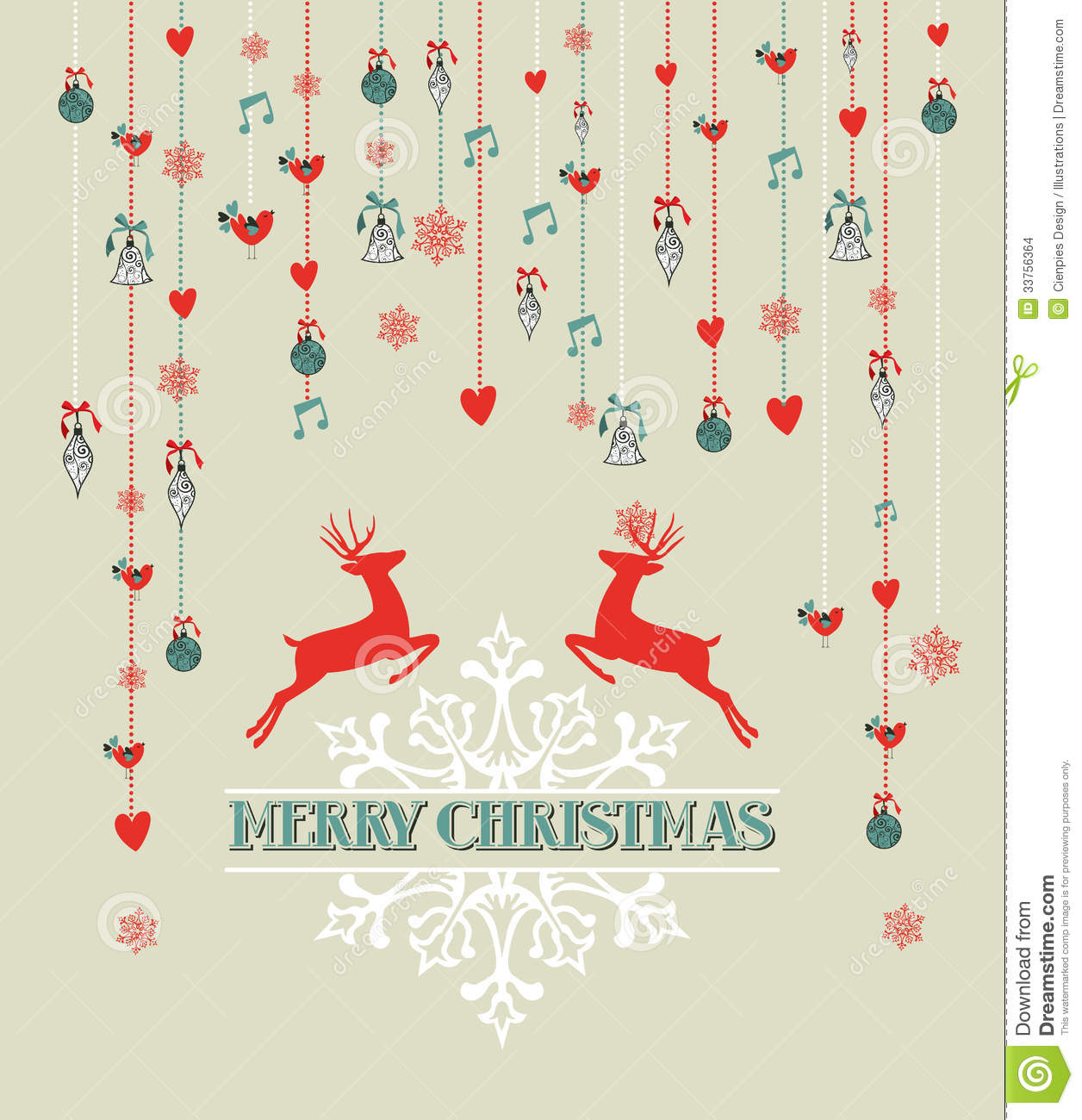 merry christmas vintage reindeer and bauble backgr stock vector image 33756364. Black Bedroom Furniture Sets. Home Design Ideas