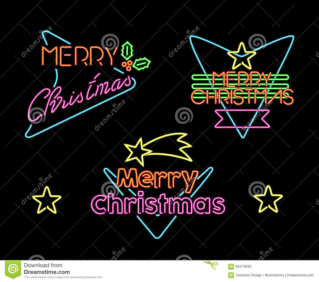 Merry Christmas Vintage Set Label Neon Light Sign Stock