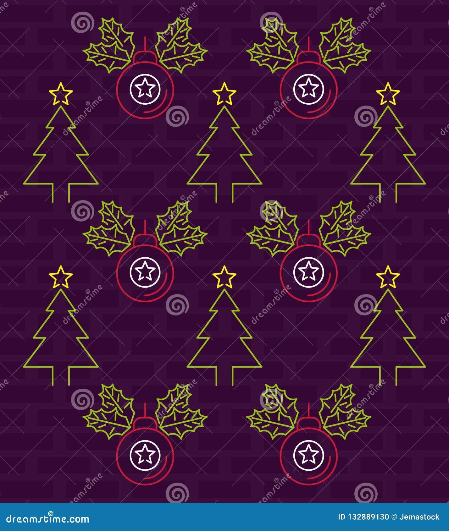 merry christmas wallpaper neon lights merry christmas wallpaper balls trees brick wall background vector illustration graphic 132889130