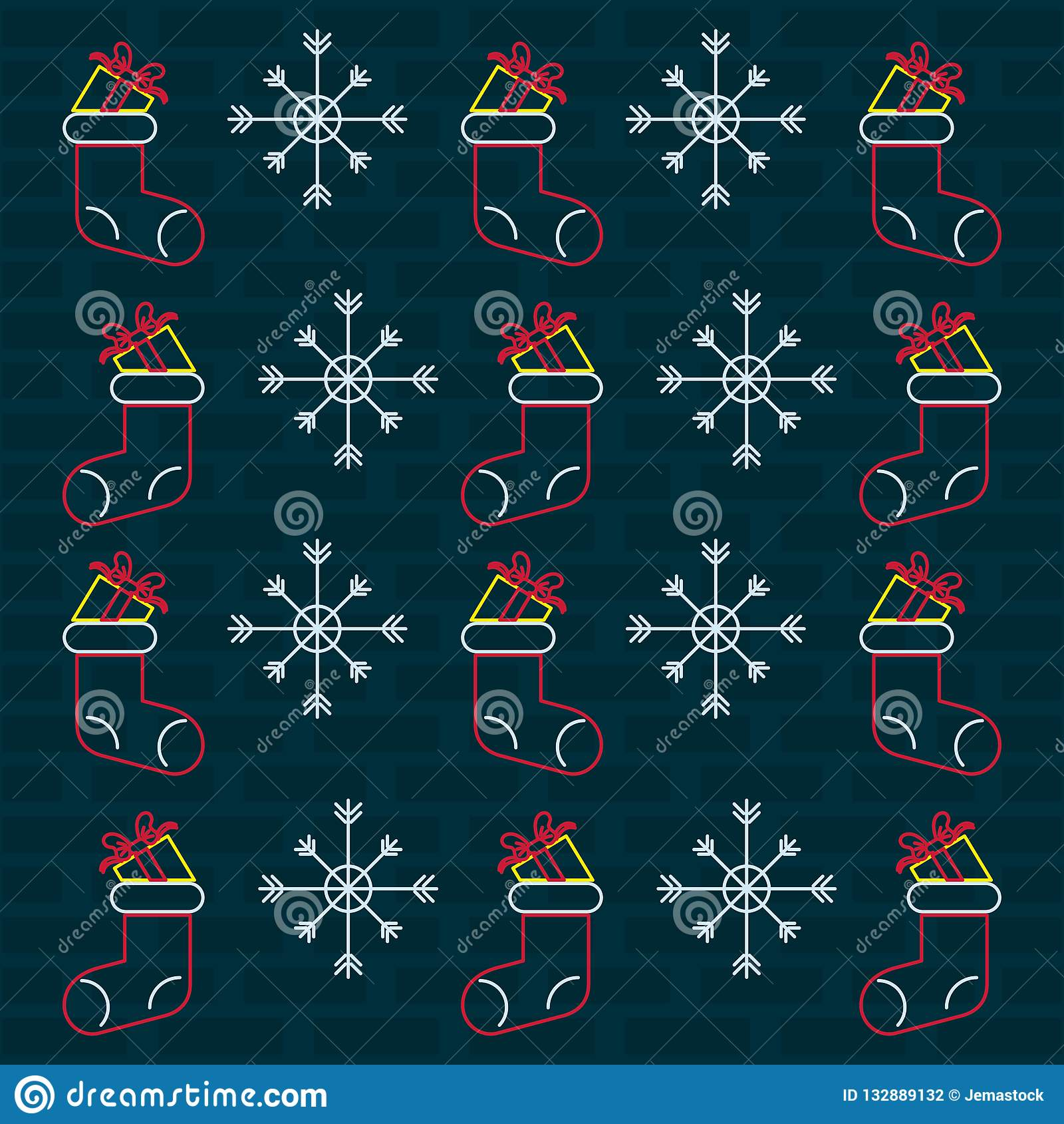 merry christmas wallpaper neon lights merry christmas wallpaper snowflake sock brick wall background vector illustration graphic 132889132