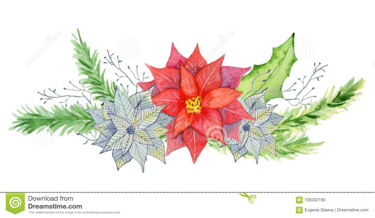 merry christmas watercolor bouquets with floral winter elements happy new year card posters