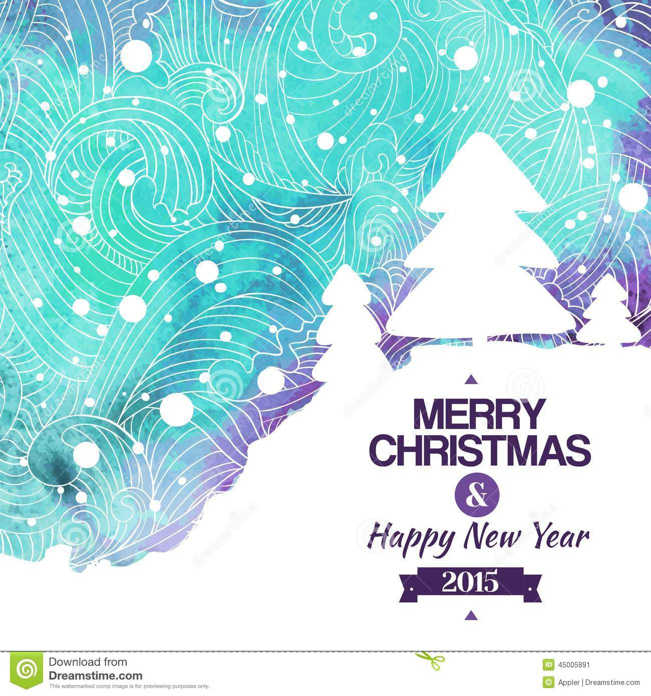 Merry Christmas Watercolor Drawing Background Stock Vector - Image ...