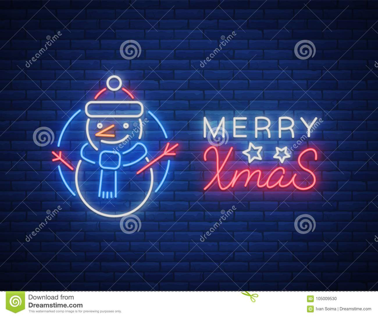 Christmas Done Bright.Merry Christmas Welcome Card Done In Neon Style Isolated