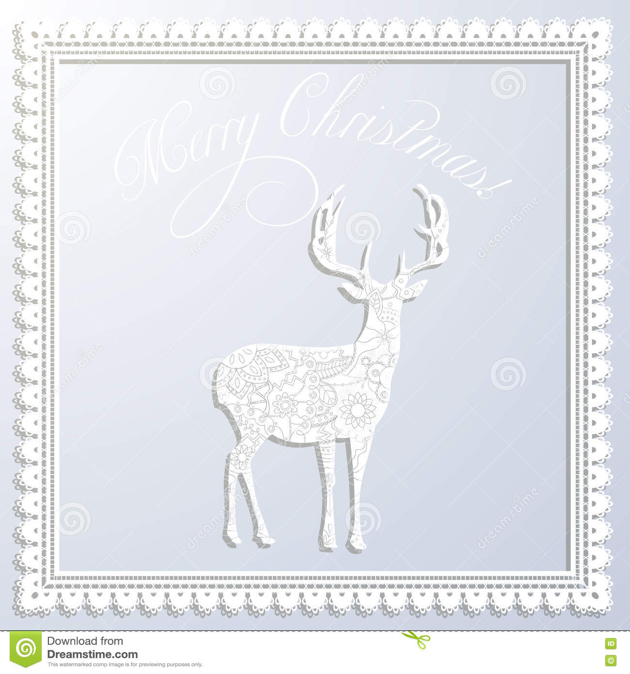 Merry Christmas White Paper Card With Applique Deer And Frame Stock ...