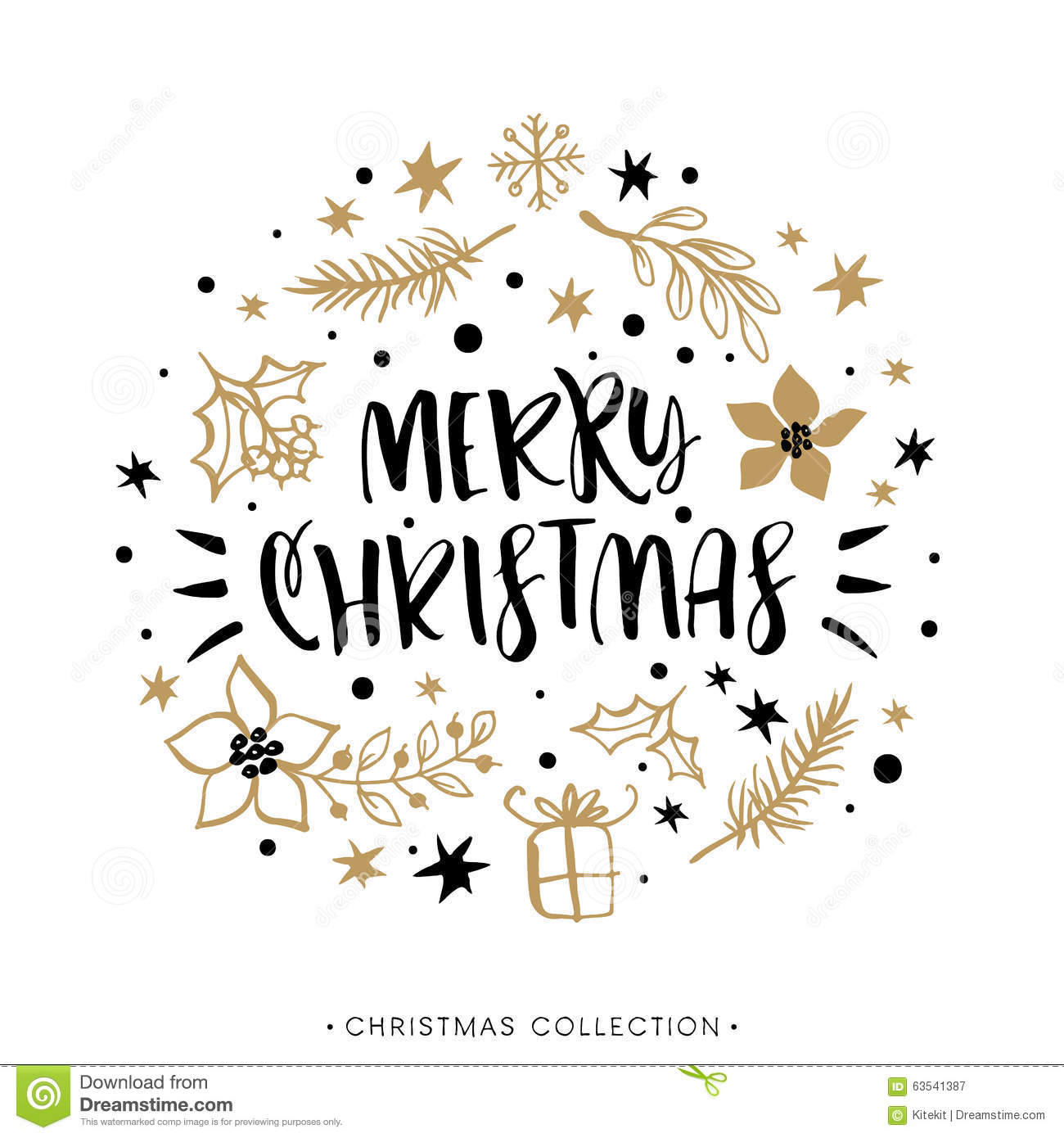Merry Christmas Winter Holiday Greeting Card With