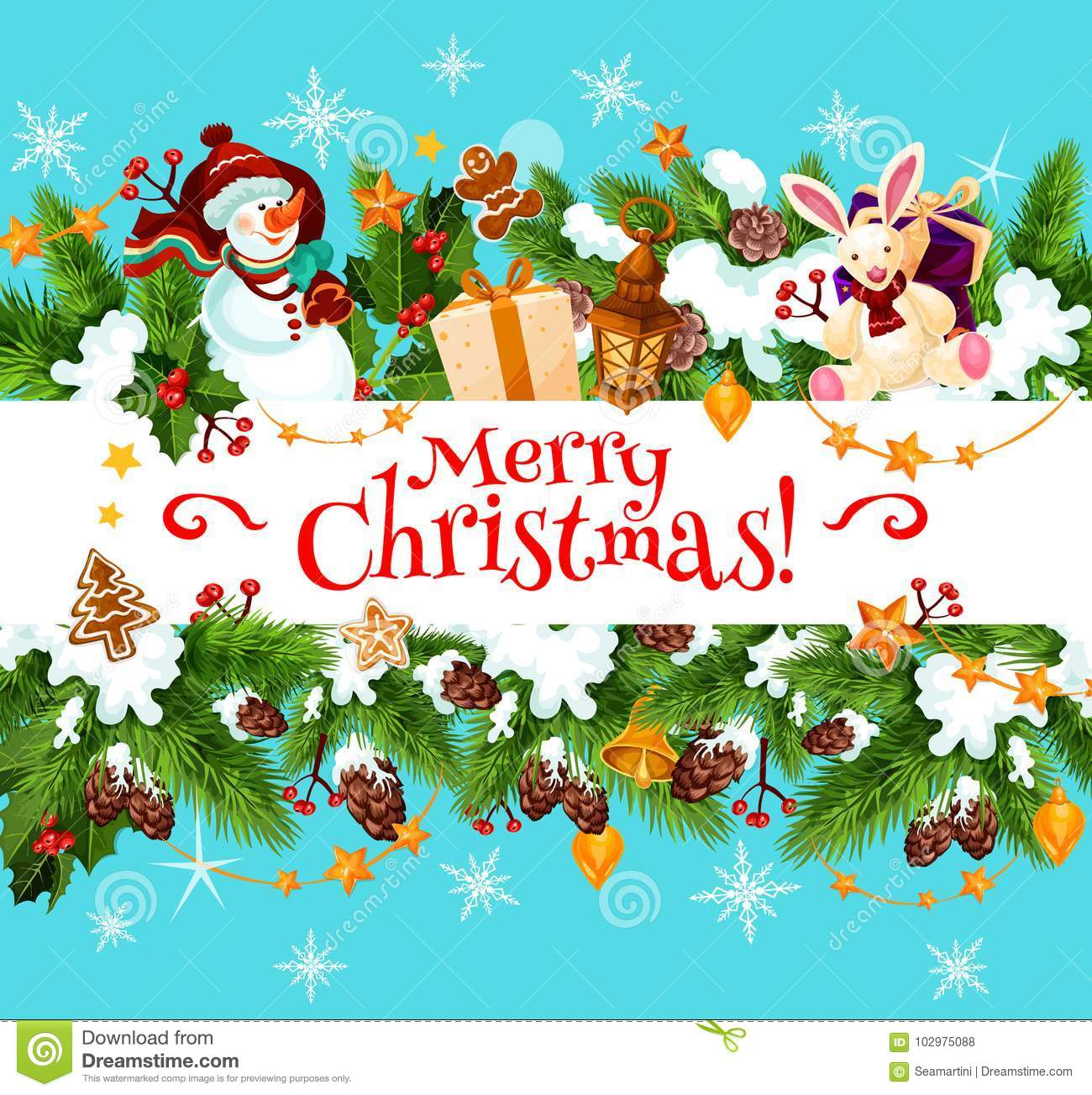 Merry Christmas Holiday Vector Greeting Card Stock Vector