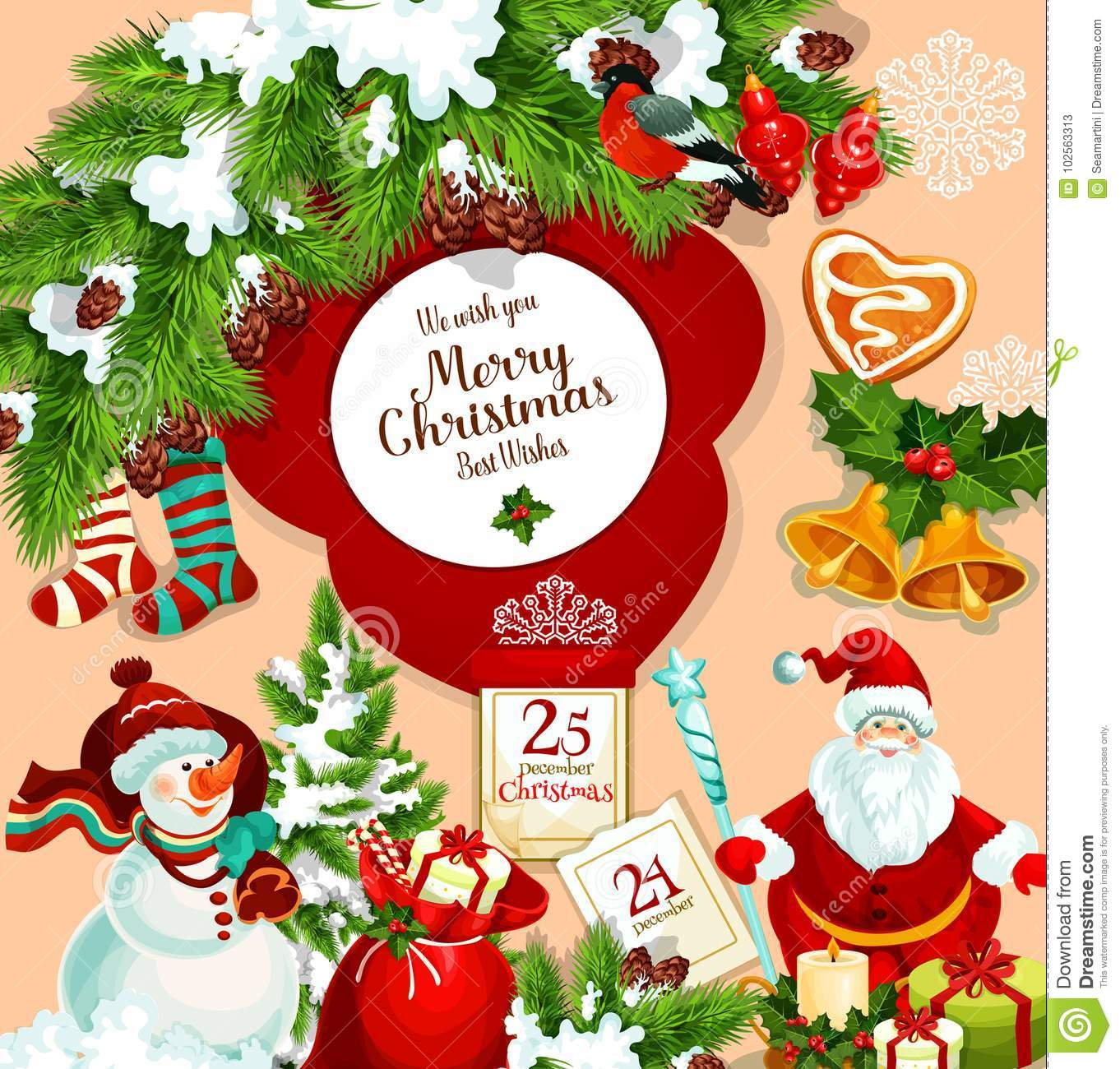 Merry Christmas Wishes Greeting Cards.Merry Christmas Vector Santa Gift Greeting Card Stock Vector