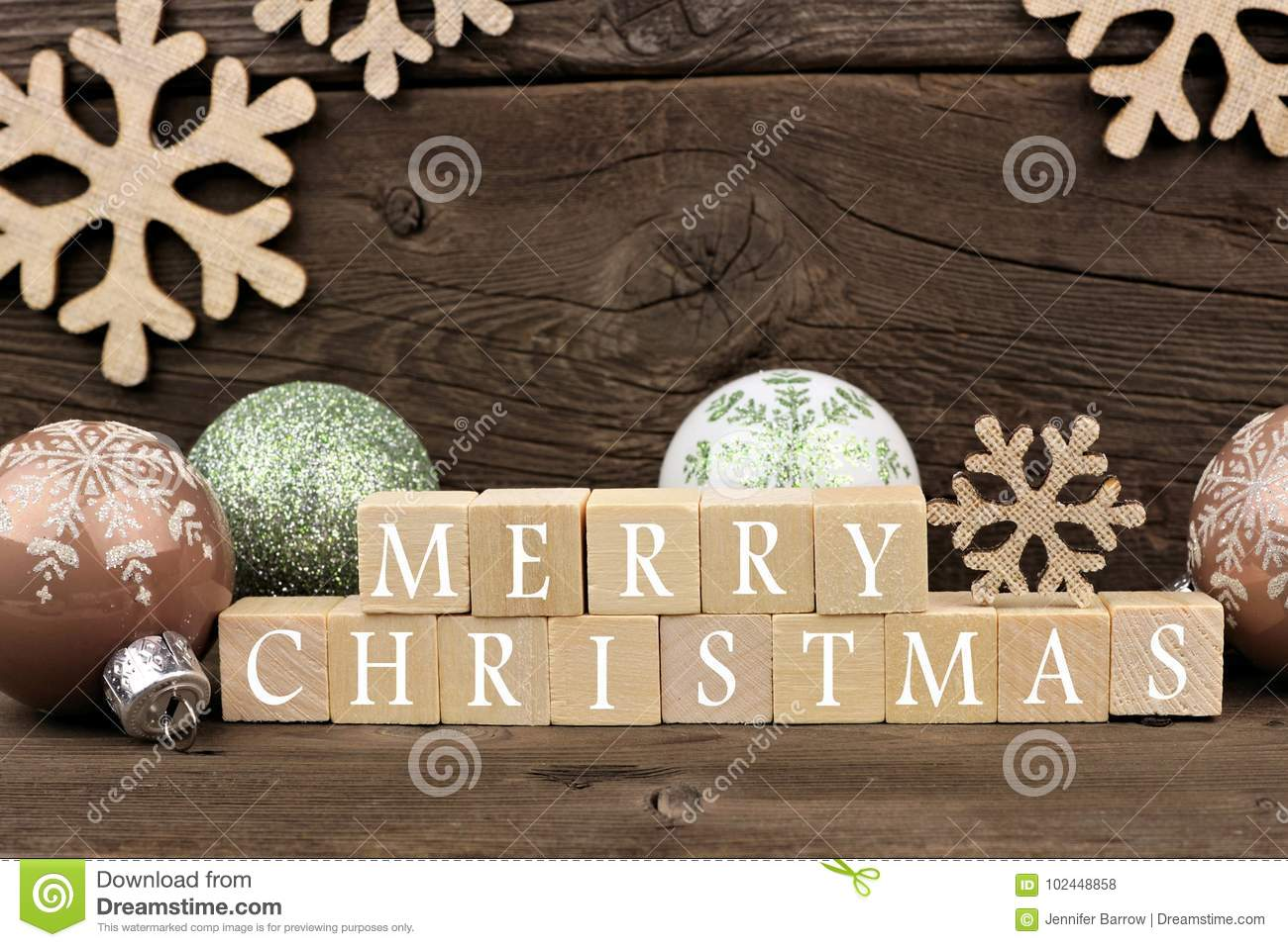merry christmas wooden blocks with decor on rustic wood - Merry Christmas Decorative Blocks