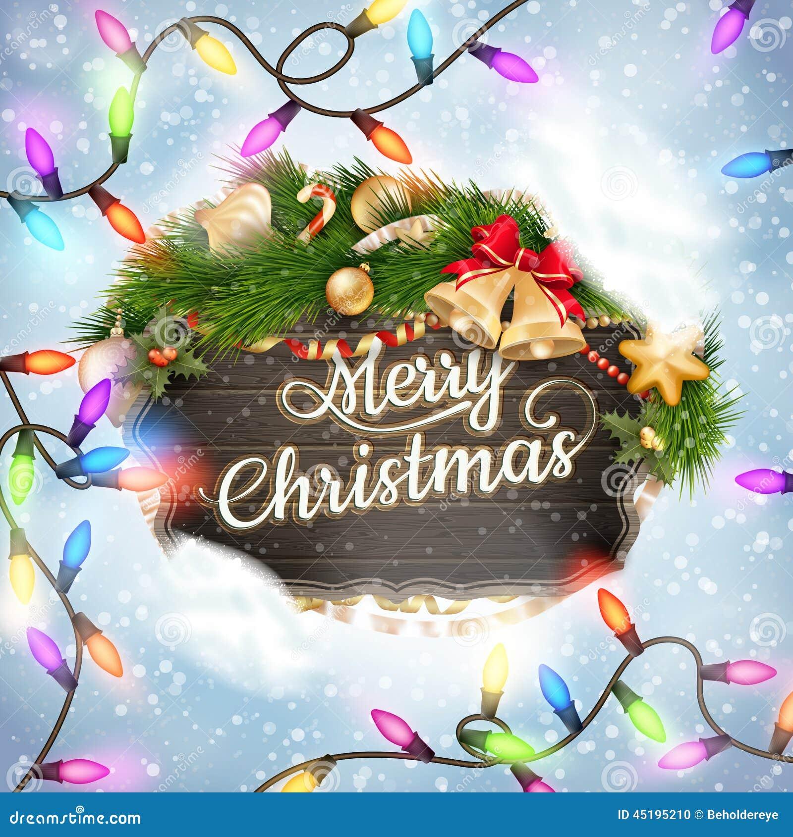Merry Christmas Wooden Board Garland Stock Vector ...