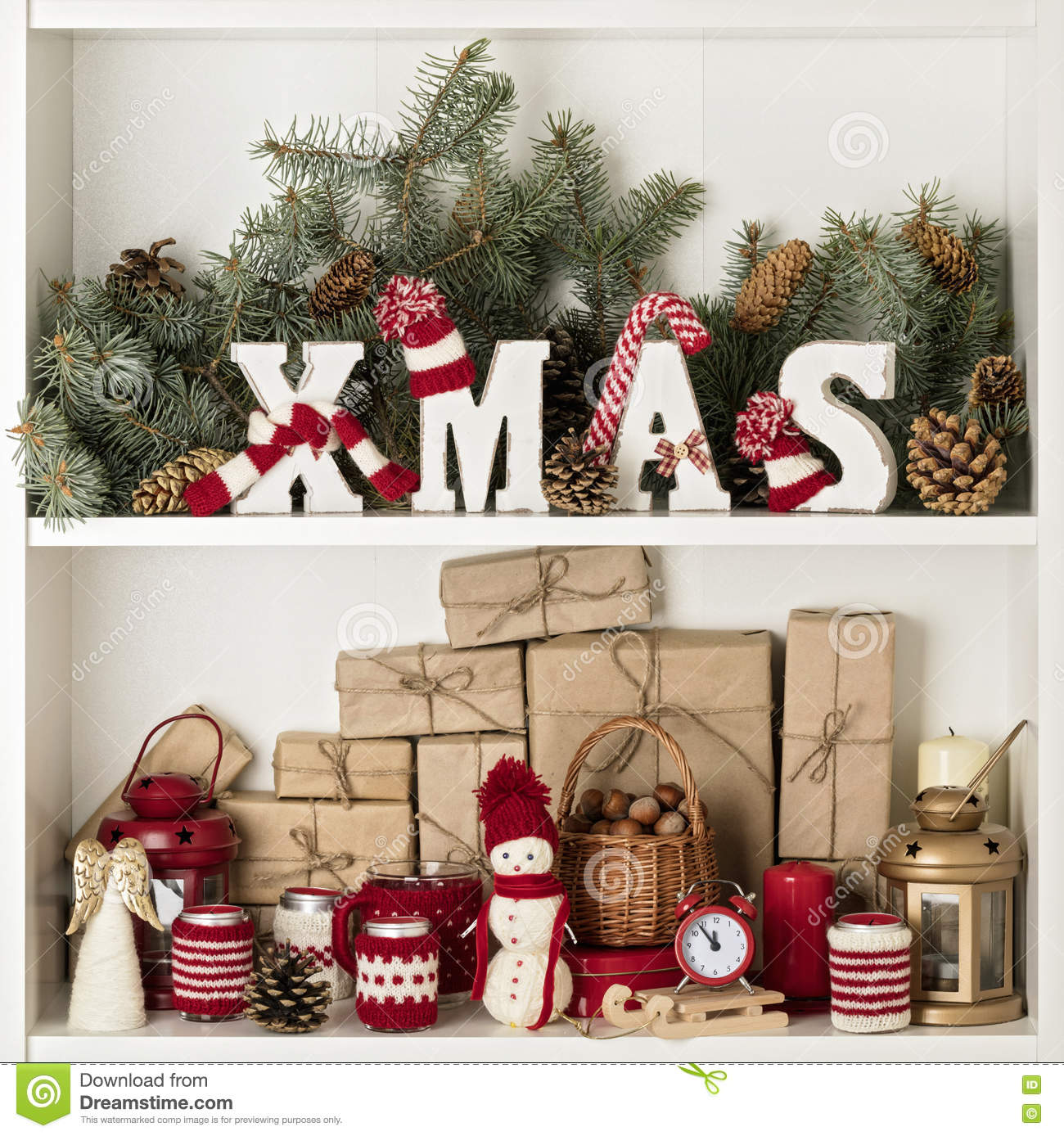 Merry Christmas Wooden Letters Xmas In Knitted Hats And Scarf I
