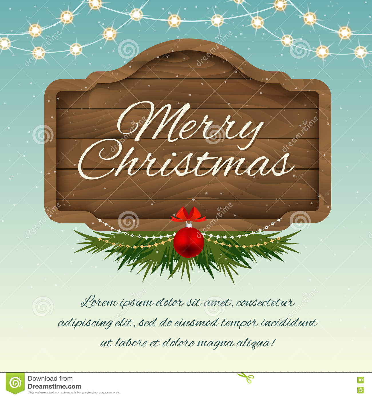 download merry christmas wooden sign board vector holiday greeting card stock vector illustration - Merry Christmas Wooden Sign