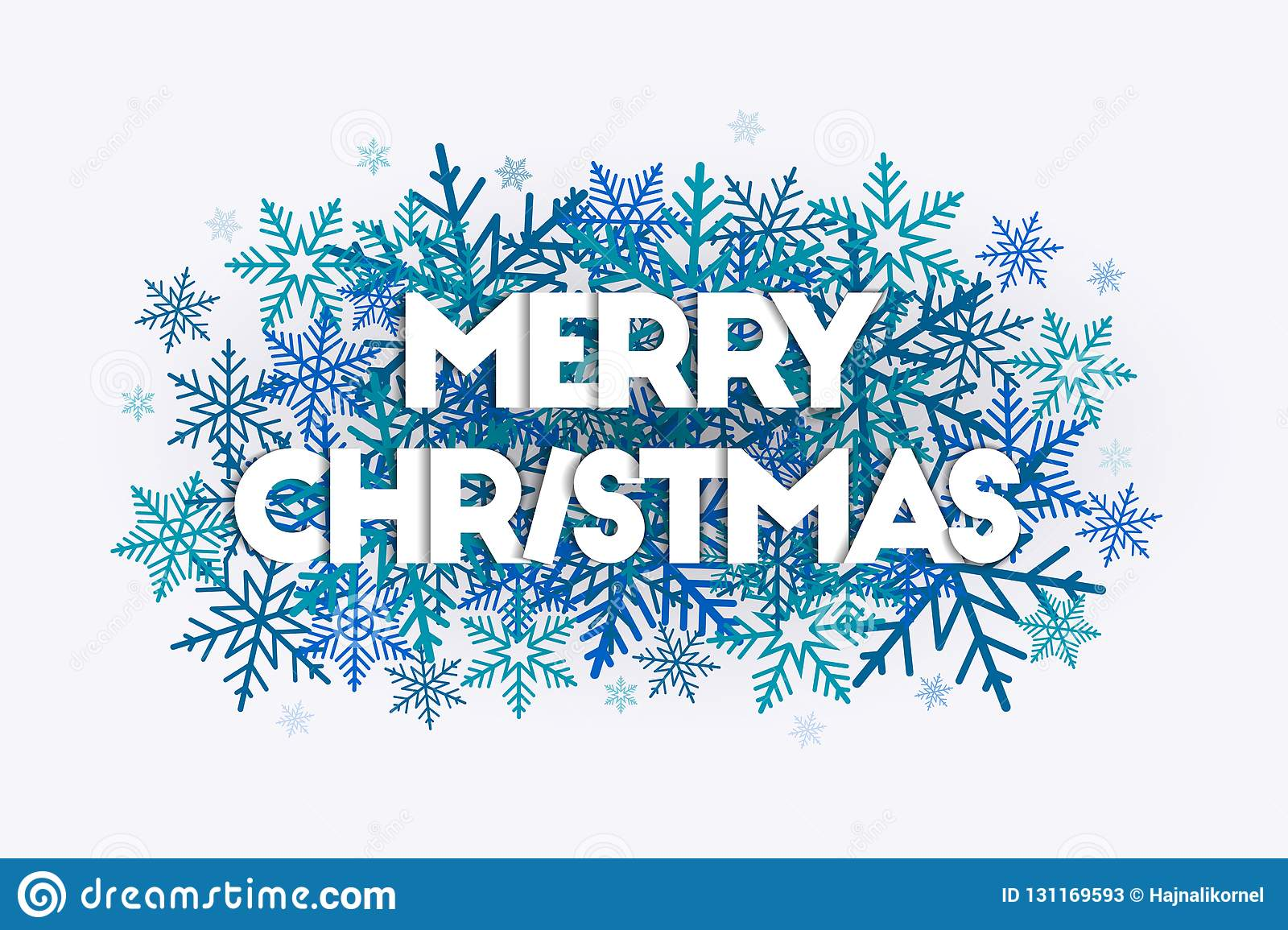 Merry Christmas Word Art Concept With Letters Laying On