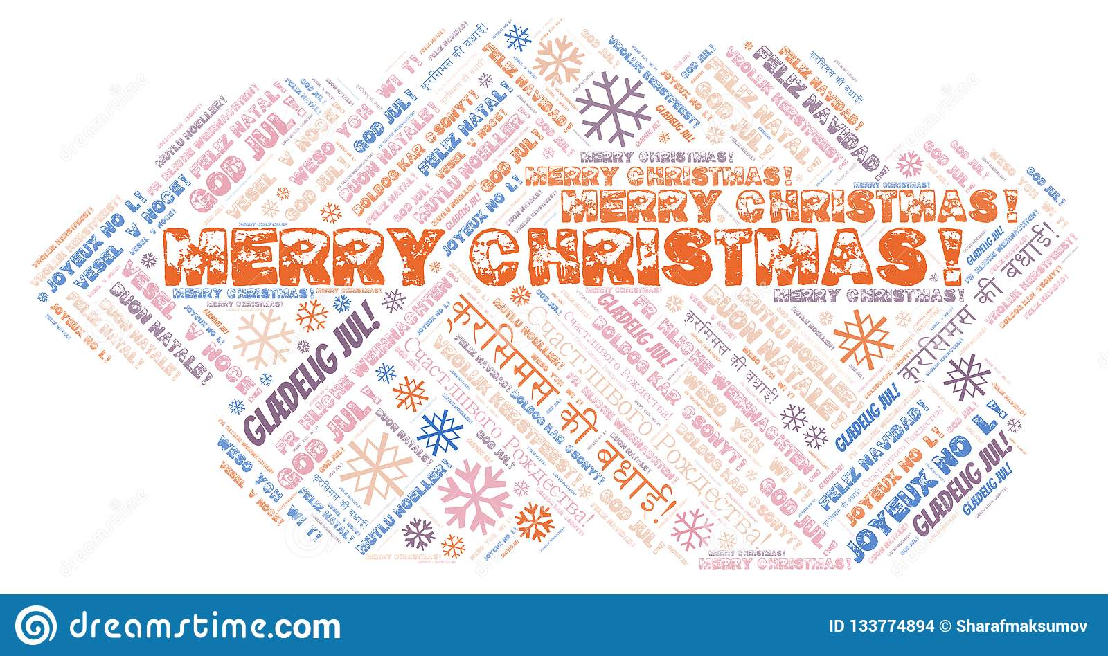 Merry Christmas word cloud - Merry Christmas on English language and other different languages
