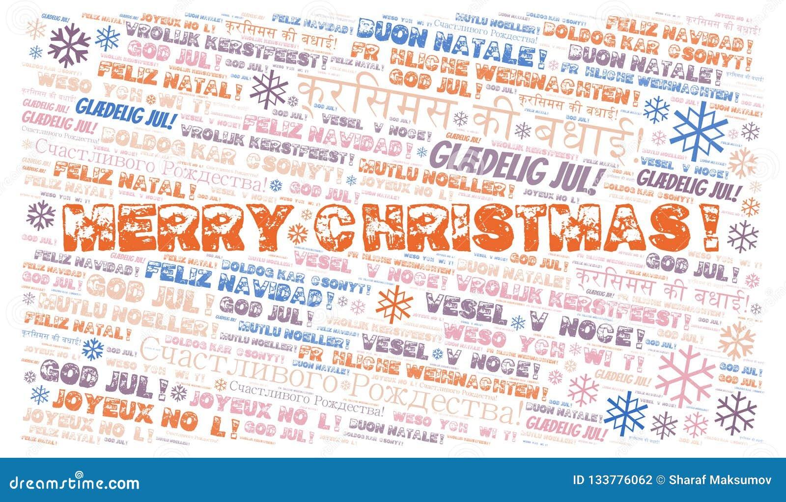 Merry Christmas Word Cloud Merry Christmas On English Language And