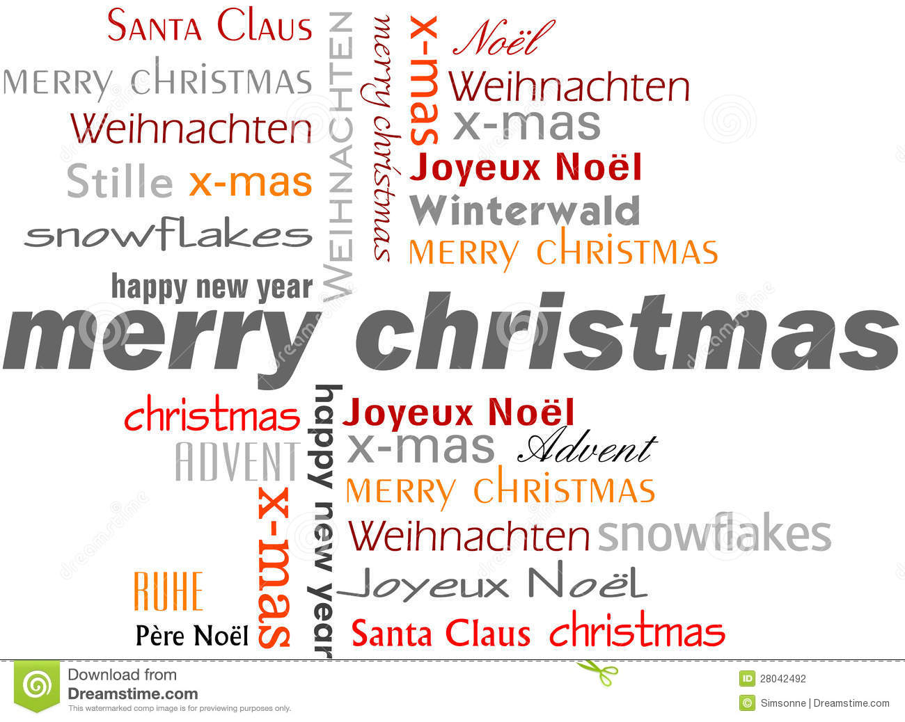 Christmas Words That Start With A.Merry Christmas Words Stock Illustration Illustration Of