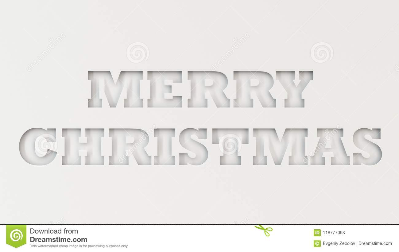 Merry Christmas Words Cut In White Paper Stock Illustration ...