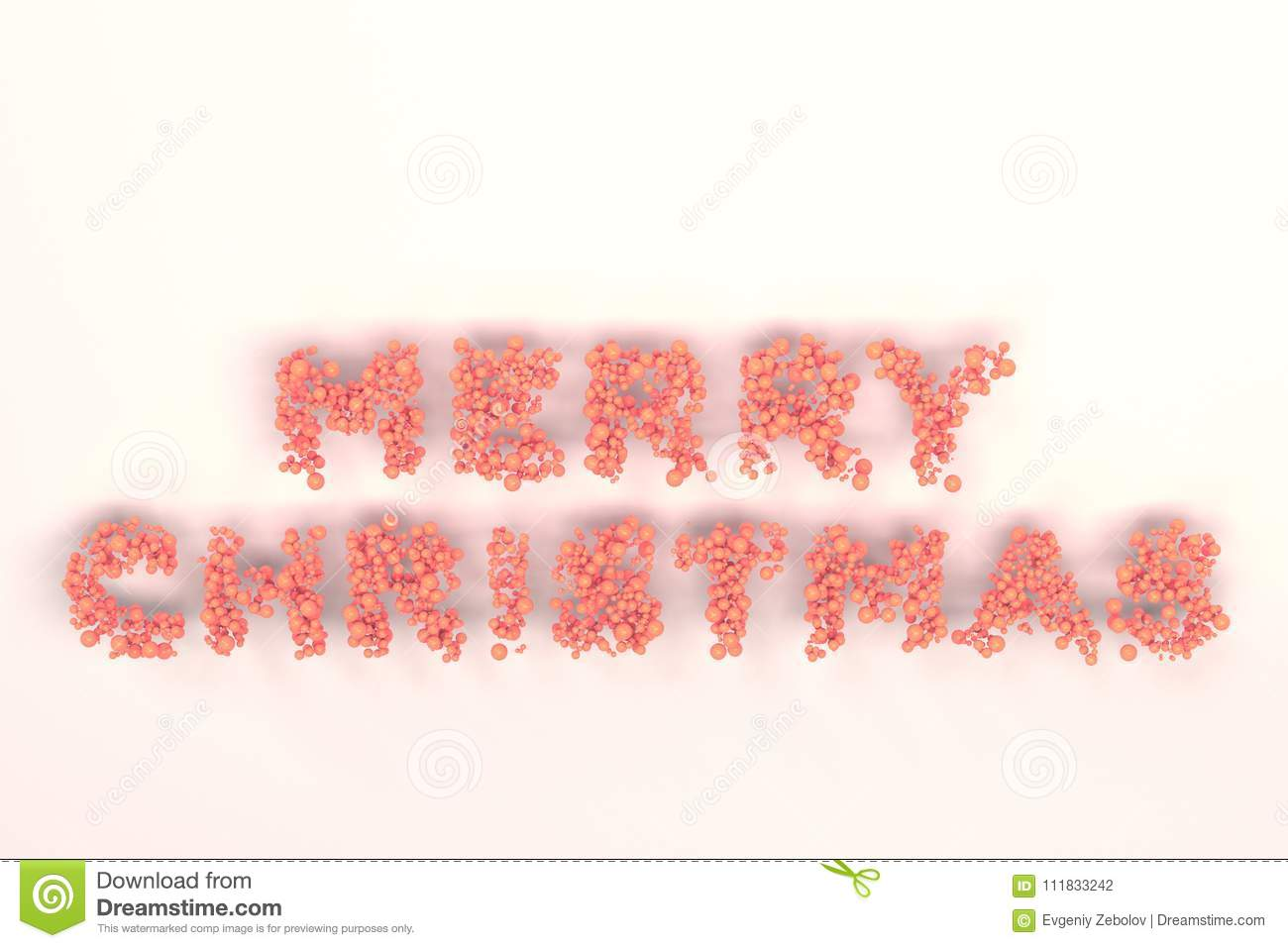 merry christmas words from red balls on white background