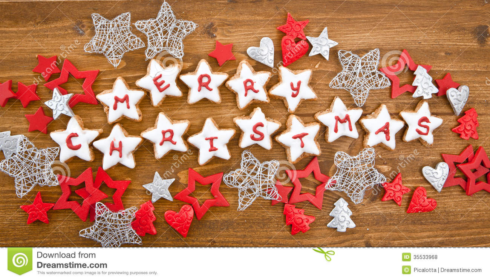 Merry Christmas Written On Cookies Stock Photo Image Of Horizontal