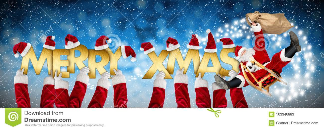 Merry Christmas Xmas Greeting Funny Santa Claus On Sleigh