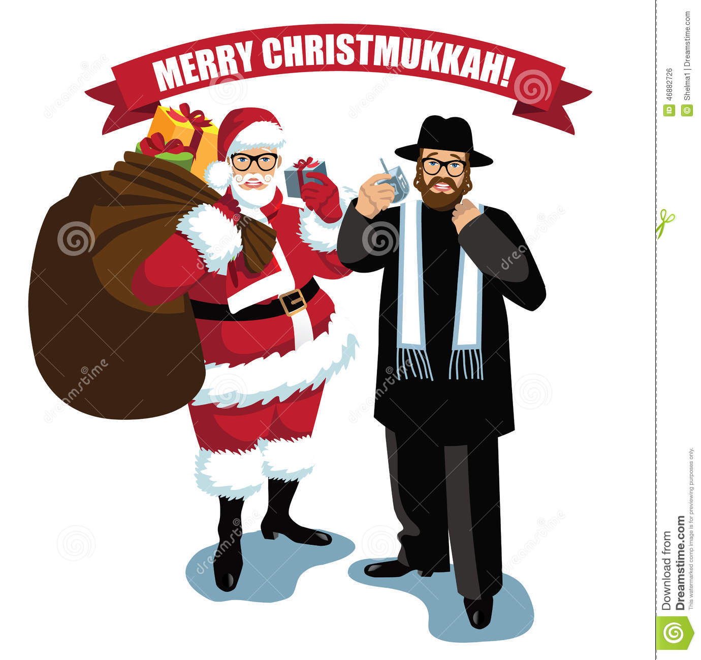 Merry Christmukkah Santa and Rabbi isolated