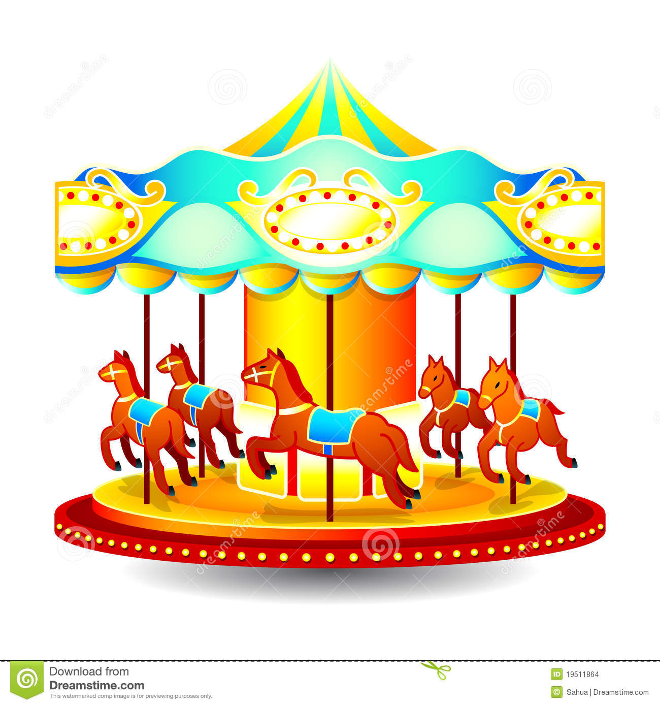 Merry-go-round Stock Vector. Illustration Of Clip, Horse
